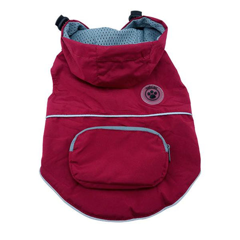 FouFouDog Rainy Day Dog Poncho with Built-in Travel Pouch - Burgundy-foufou Dog-High Society Canine