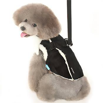 Furry Winter Dog Harness Coat by Dogo - Black-DOGO-High Society Canine