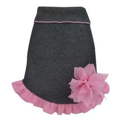 Gray Pullover Dog Dress with Pink Flower