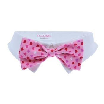 Heart Dog Shirt Collar and Bow Tie - Pink-Pooch Outfitters-High Society Canine