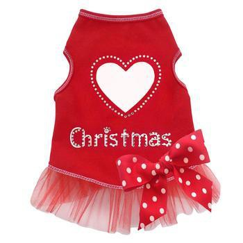 Heart Love Christmas Dog Dress - Red-I See Spot-High Society Canine