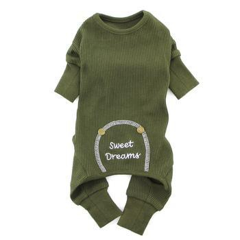 Sweet Dreams Thermal Dog Pajamas by Doggie Design - Herb Green-Doggie Design-High Society Canine