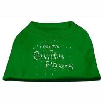 I Believe in Santa Paws Screen Print Dog Shirt - Green-Mirage-High Society Canine