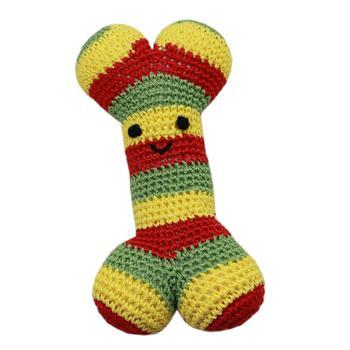 Knit Knacks Bob the Rasta Bone Organic Dog Toy-Mirage-High Society Canine