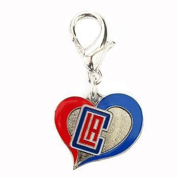 Los Angeles Clippers Swirl Heart Dog Collar Charm-Diva Dog,NBA Dogs-High Society Canine