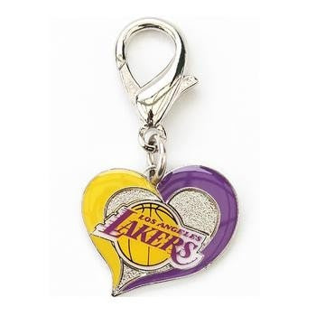 Los Angeles Lakers Swirl Heart Dog Collar Charm-Diva Dog,NBA Dogs-High Society Canine