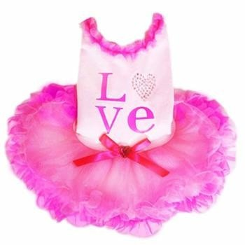 Love Party Dog Dress - Pink-Pooch Outfitters-High Society Canine