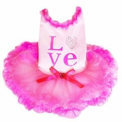 Love Party Dog Dress - Pink