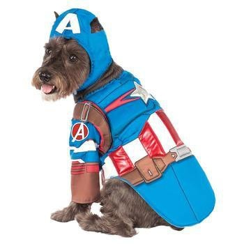 Marvel Deluxe Captain America Dog Costume-Marvel,Rubies Costumes-High Society Canine