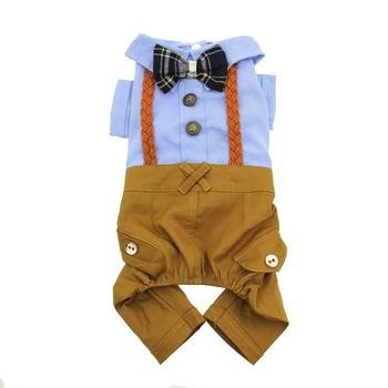 Parisian Pet Preppy Dog Jumpsuit - Blue Bow Tie-Parisian Pet-High Society Canine