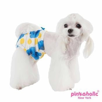 Peonies Dog Sanitary Pants by Pinkaholic - Blue