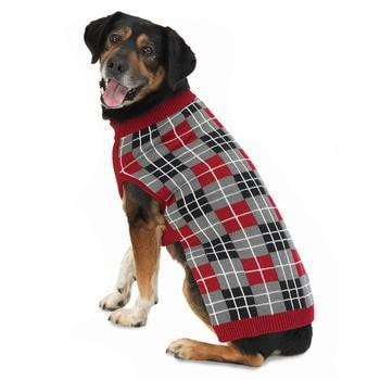 Pipers Plaid Dog Sweater - Red-PetRageous-High Society Canine