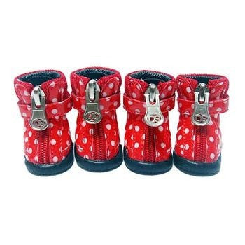 Polka Dot Hiker Dog Boots - Red-Doggy Style Design-High Society Canine