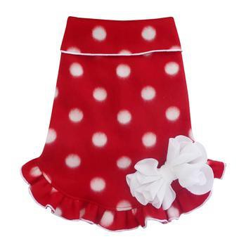 Polka Dot Holiday Pullover Dog Dress - Red and White