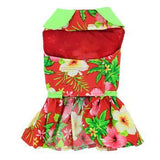 Red Hawaiian Hibiscus Designer Dog Harness Dress-Doggie Design-High Society Canine
