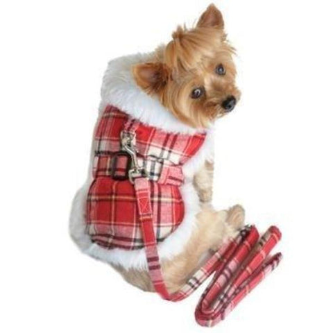 Clearance - Plaid Fur-Trimmed Dog Harness Coat - Red and White