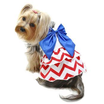 Red, White, and Blue Large Bow Dog Sundress By Klippo