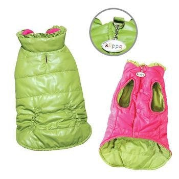 Reversible Parka Dog Vest with Ruffle Trim by Klippo - Lime and Pink-Klippo-High Society Canine