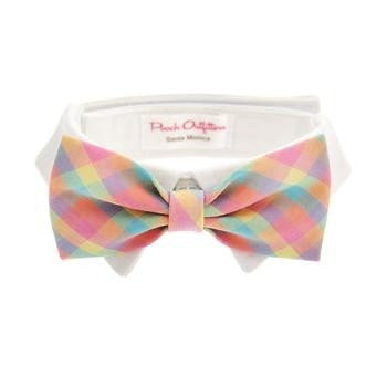 Riley Dog Shirt Collar and Bow Tie - Pastel Plaid-Pooch Outfitters-High Society Canine