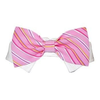 Ryan Dog Shirt Collar and Bow Tie - Pink Striped-Pooch Outfitters-High Society Canine