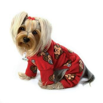 Silly Monkey Fleece Turtleneck Dog Pajamas - Burgundy-Klippo-High Society Canine