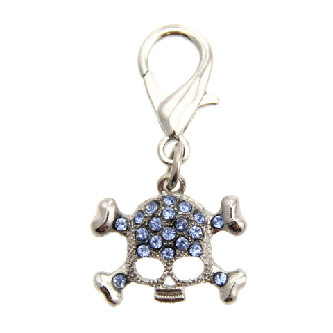 Skull D-Ring Pet Collar Charm by FouFou Dog - Blue-foufou Dog-High Society Canine