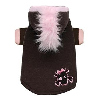 Skull Mohawk Dog Hoodie by Hip Doggie - Brown and Pink-Hip Doggie-High Society Canine