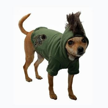 Skull Mohawk Dog Hoodie by Hip Doggie - Green