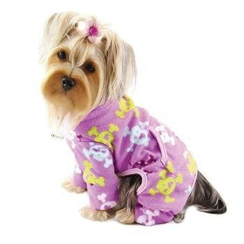 Skulls and Crossbones Fleece Dog Pajamas by Klippo - Purple-Klippo-High Society Canine