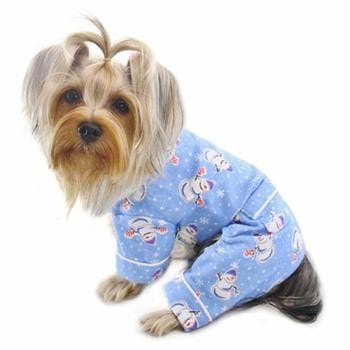 Snowmen and Snowflakes Flannel Dog Pajamas by Klippo-Klippo-High Society Canine