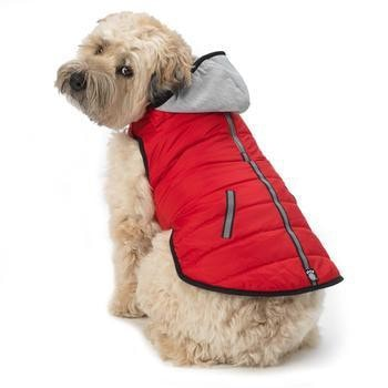 Stowe Puffer Dog Coat - Red-PetRageous-High Society Canine