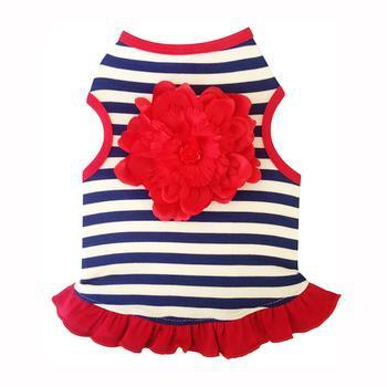 Navy and White Striped Tank Dog Dress - Red Flower-I See Spot-High Society Canine