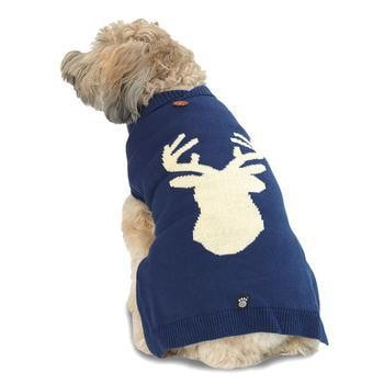 Woodys Woodland Dog Sweater - Navy Elk-PetRageous-High Society Canine