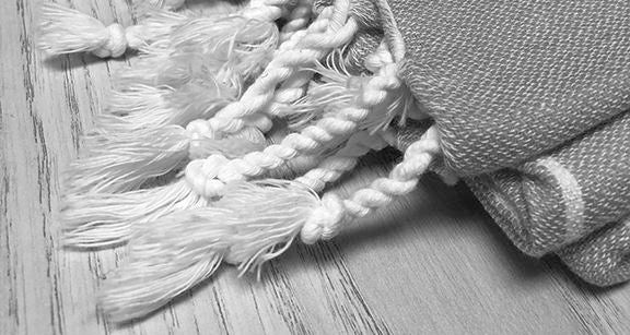 Turkish Towel Tassel Styles - Comparison of Twisted Knots, Single Knot Tassels, Fringe and Sewn Pom Poms