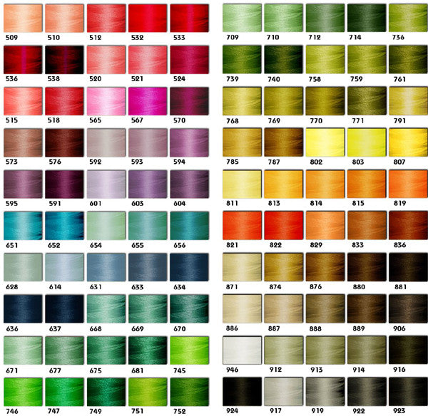 Embroidery Pantone Thread Color Chart