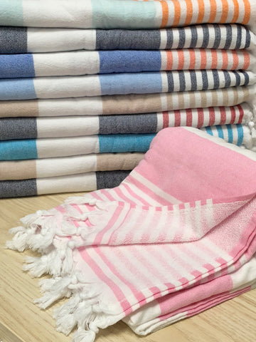 Turkish Terry Back Stripped Beach and Bath Towels