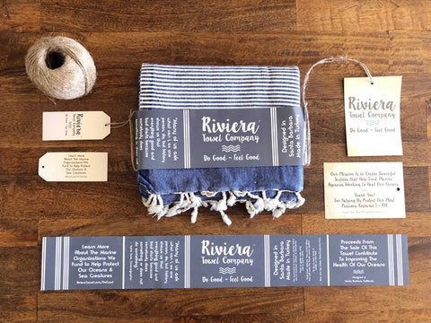 Custom Decoration for Turkish Towels Hang Tags Woven Labels and Wrap Bands