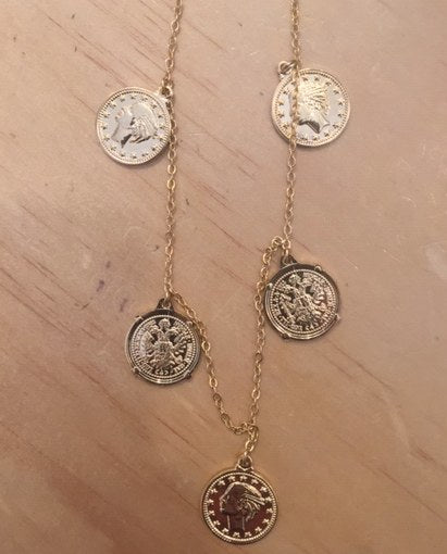 5 Coin Necklace Large