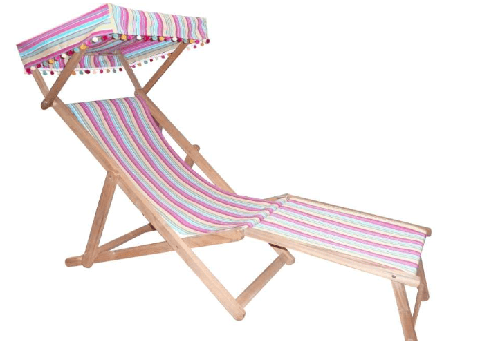 Teak Deck Chairs with Foot Stool and Canopy