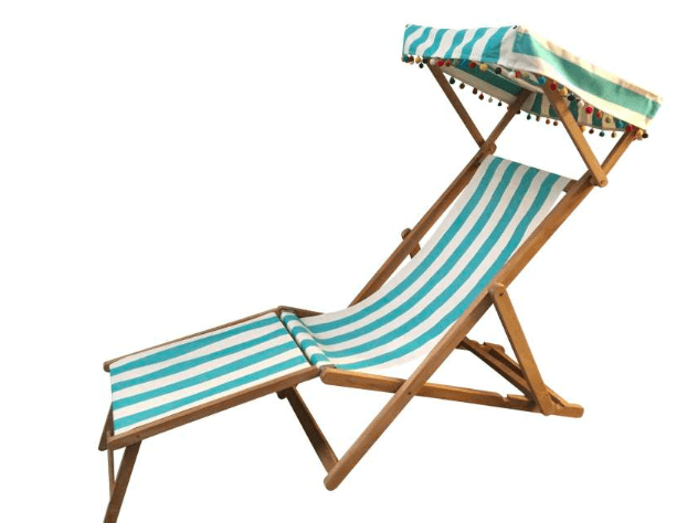 Beach Chair - Teak Deck Chairs With Foot Stool And Canopy