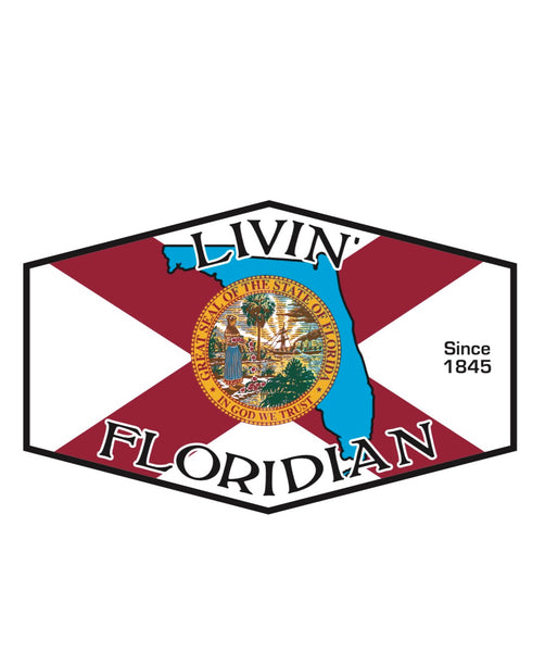 Livin' Floridian Sticker 3in X 5in