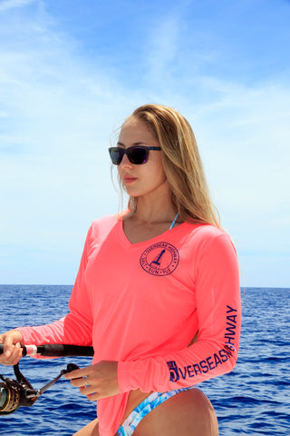 Overseas Highway- Fish Paddle Dive -Women's  V-Neck UPF