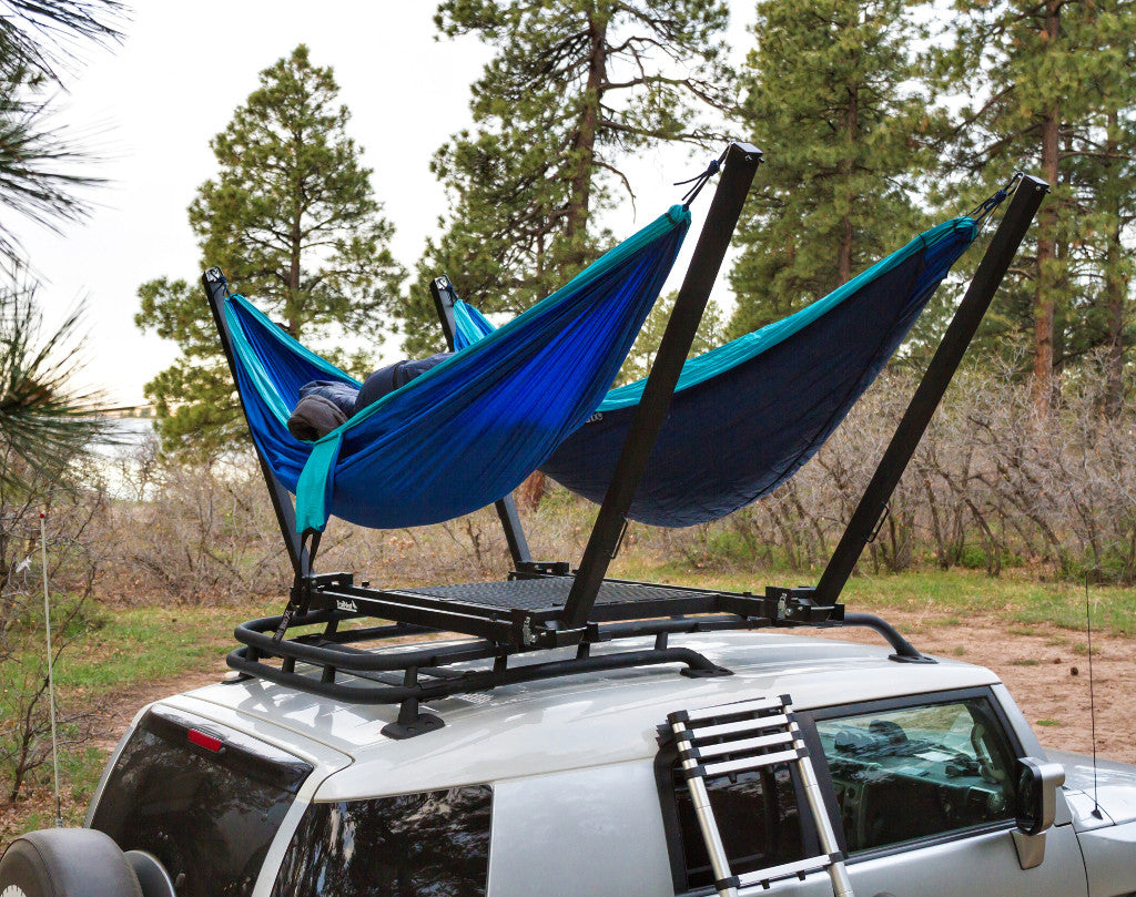 TrailNest Double Roof Top Hammock Stand System with ladder