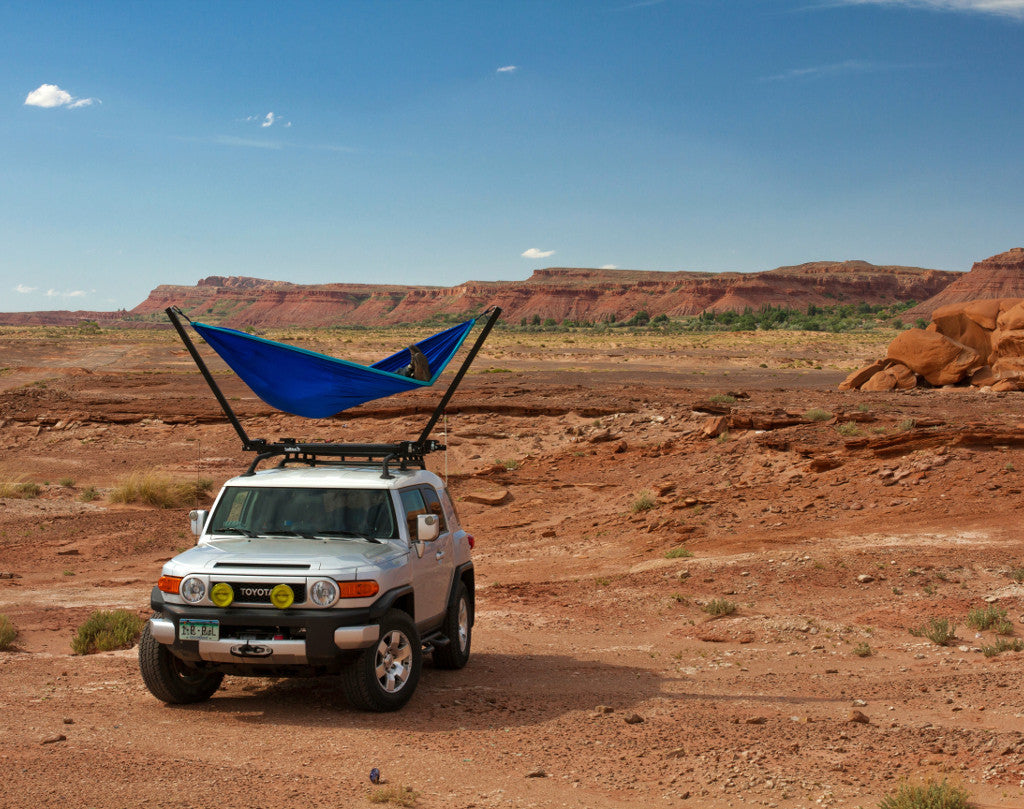 Camping without trees in the TrailNest Roof Top Hammock Stand