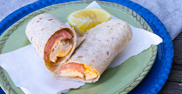 Scrambled Eggs and Smoked Salmon Wraps