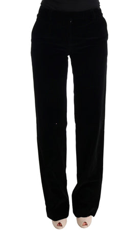 Black Cotton Regular Fit Formal Pants