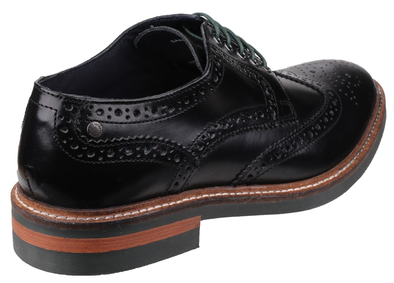 Base London Men's Woburn Hi-Shine Brogue Shoe Black 23208