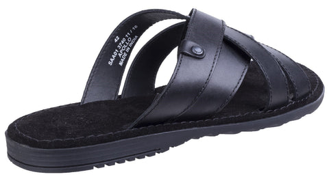 Base London Men's Apollo Waxy Leather Flip Flop Black 25152