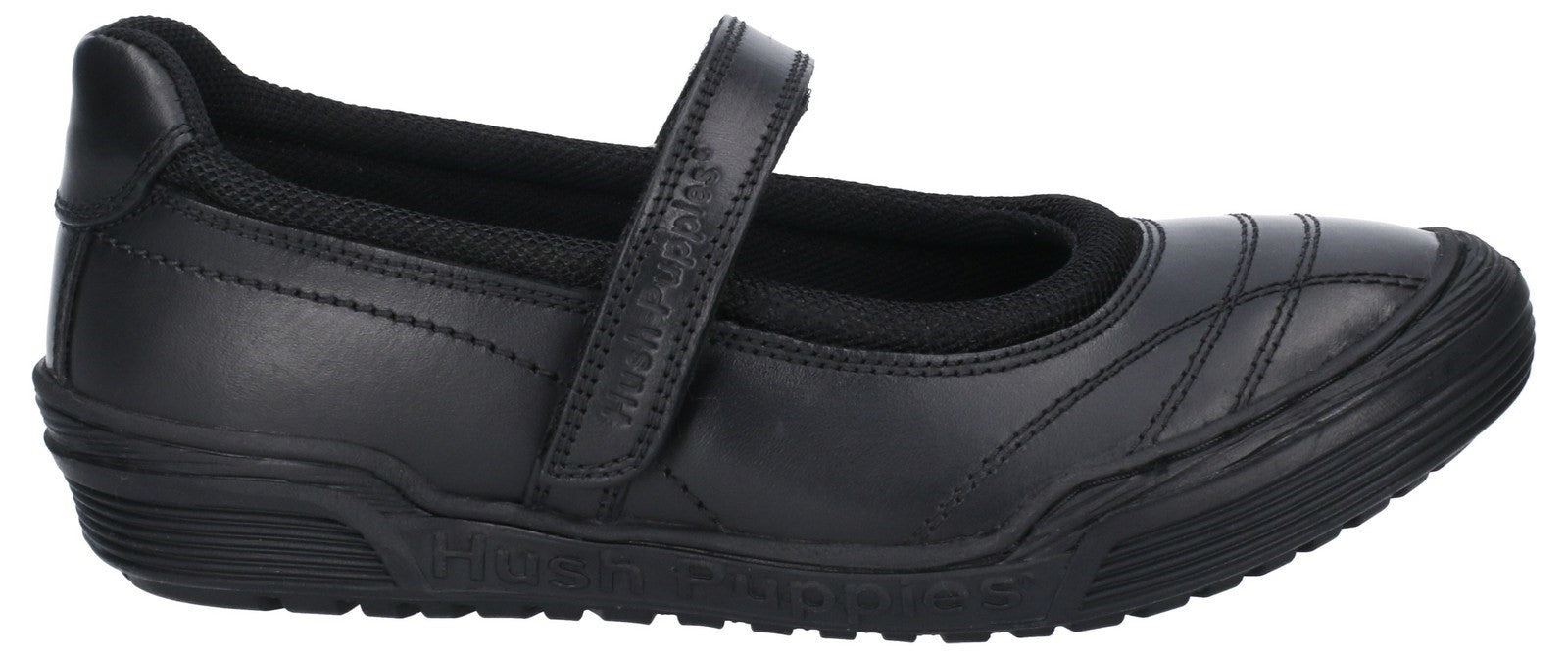 Hush Puppies Men's Amelia Snr Touch Fastening School Shoe Black 28976