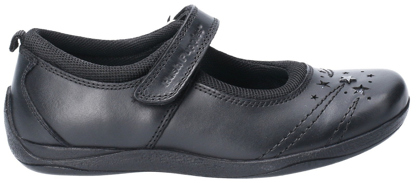 Hush Puppies Men's Amber Snr Touch Fastening School Shoe Black 28980